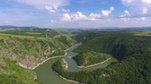 협곡 : Aerial view of the rocky river Uvac gorge on sunny day, southwest Serbia, 4k