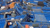 colorful backgrounds : Blue fishing boats in the port of Essaouira, Morocco