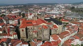 catholic church : Aerial around Viseu with church and Cathedral, Portugal, 4k