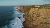 leuchtturm : Aerial view of the Cabo da Roca at sunset - the westernmost point of the continental Europe, Portugal, 4k