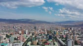 mongolia : Aerial view of center of Ulaanbaatar city, capital of Mongolia, 4k