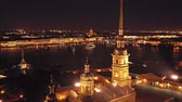bastião : Aerial night view of Peter and Paul Fortress Vídeos