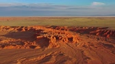 mongolia : Aerial view of Bayanzag flaming cliffs in Mongolia