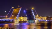 ada : Drawn Palace bridge in St. Petersburg at night