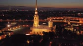 бастион : Aerial night view of Peter and Paul Fortress Стоковые видеозаписи