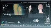 Interface futuriste HUD et figures humanoïdes