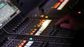 Sound music mixer desk close up, HD video Stock Footage