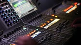 консоль : Sound music mixer desk close up, HD video Стоковые видеозаписи