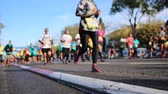 sporcu : Marathon runners in city - Close up and blurred background Stok Video