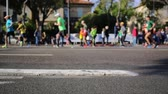 city lifestyle : Marathon runners in city - Close up and blurred background Stock Footage