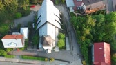 showplace : View from drone at the Church in old Polish city Stock Footage