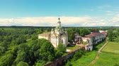 evangelho : flight of the camera over the ancient Orthodox Church. Cathedral of the Ascension of the Lord. Spaso-Sumorin Monastery. Totma. Vologda Region. Russia. view in flight. Stock Footage