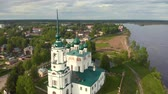 classicism : Flight of the camera over the ancient Orthodox Church. Ancient Annunciation Cathedral (1560-1584) on on the old trade route passing from Totma to Arkhangelsk. Solvychegodsk.