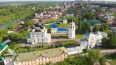 Flight of the camera over the ancient Orthodox Church. Uspensky (Assumption) Trifonov monastery with Assumption Cathedral, Belfry and St. Nicholas Gate Church in Kirov, Russia