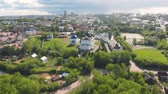 virgem : Flight of the camera over the ancient Orthodox Church. Uspensky (Assumption) Trifonov monastery with Assumption Cathedral, Belfry and St. Nicholas Gate Church in Kirov, Russia
