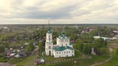 campanário : Flight of the camera over the ancient Orthodox Church. Ancient Annunciation Cathedral (1560-1584) on on the old trade route passing from Totma to Arkhangelsk. Solvychegodsk.