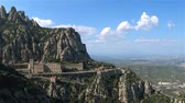 santuário : Barcelona, Spain-September 2017: the famous pilgrimage site of Montserrat mountain Stock Footage
