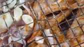 marinado : Marinated Chicken and beef kebab on grill rack