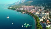 Europe. Croatia. Makarska.View from the drone in 4K on the Riviera of the city of Makarska
