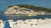 submarino : Croatia. Makarska. Small yellow submarine carries tourists on diving