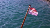 ulusal bayrağı : Croatia flag fixed on the boat waving in the wind