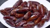 ramadan background : Dried fruit dates rotates. close up Stock Footage