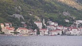 adriai : View from the sea to the old town of Perast on the Bay. Montenegro Stock mozgókép