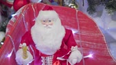 papai noel : Christmas lights and Santa Claus close up under the Christmas tree