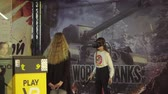Belarus Minsk November 2019. Attraction with virtual reality in the shopping center