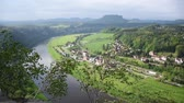 dresden : River Elba in Saxon Switzerland, top view, near Bastei Bridge. Sachsen, Germany Stock Footage