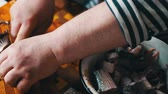 cutting in : Manual Cleaning The Fish Stock Footage