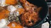 single roast : Fried eggs in a pan close up And fried chicken nuggets with spices Stock Footage