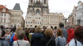 mala : September 12, 2017 - Prague, Czech Republic: View on the main Old Town Square and to the Town Hall of Prague where many people are walking and group of tourists listening to the guide
