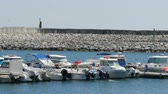 stationary : Large number of moored boats in the harbor of the Mediterranean Sea Stock Footage