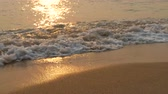 egzotizm : Beach and sea waves in sunset sun