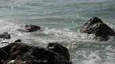 barreira : Waves beat against the rocky shore. Beautiful waves of the South China Sea close up view