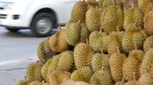 espinhoso : Durian is on the counter of a street store. Exotic fruits of Thailand and Asia. The king of fruit Thailand, tropical fruits.