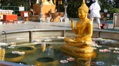 agyar : PATTAYA, THAILAND - December 18, 2017: Golden statue of a seated Buddha in a small pond over which wax candles float in a variety of colors. Tourists are walking