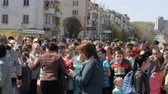 long distance : April 21, 2018 - Kamenka, Ukraine: crowd of people participating in the marathon waiting for start command