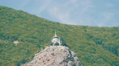 zmartwychwstanie : View on a beautiful Foros Orthodox Church, which stands on top among the rocky and green Crimean mountains