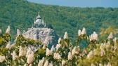 retro revival : Orthodox Church in Foros stands on a mountain, against a backdrop of flowering chestnuts