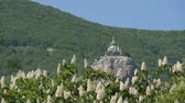 multicopter : Orthodox Church in Foros stands on a mountain, against a backdrop of flowering chestnuts