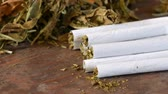legalize : Homemade cigarettes or roll-up stuffed with tobacco are on a table next to dry tobacco leaves Stock Footage