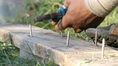 wood flooring : Man bends iron nails with pliers on an old board Stock Footage