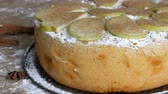 koláč : Delicious freshly baked lush apple pie charlotte powdered with cinnamon. Traditional Homemade Apple Pie