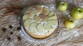 decorations : Traditional homemade apple pie powder with cinnamon. Delicious freshly baked apple pie charlotte top view