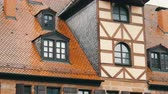 alley wall : Typical national German houses in the city of Furth in style of fachwerk or half-timbered. Stock Footage