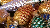 abridor : Beautiful Christmas decorations in form of colorful cones sprinkled with sparkles Vídeos