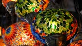 bazar : Multi-colored Turkish mosaic lamps on ceiling market in the famous Grand Bazaar in Istanbul, Turkey