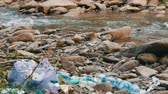 醜い : Mountain fast clean stream, on rocky shore, which has garbage, plastic bottles, bags. The human factor in environmental pollution. Special garbage defocus
